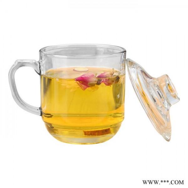 带把带盖玻璃花茶杯 泡茶杯 办公会议玻璃杯 广告礼品杯 定制杯